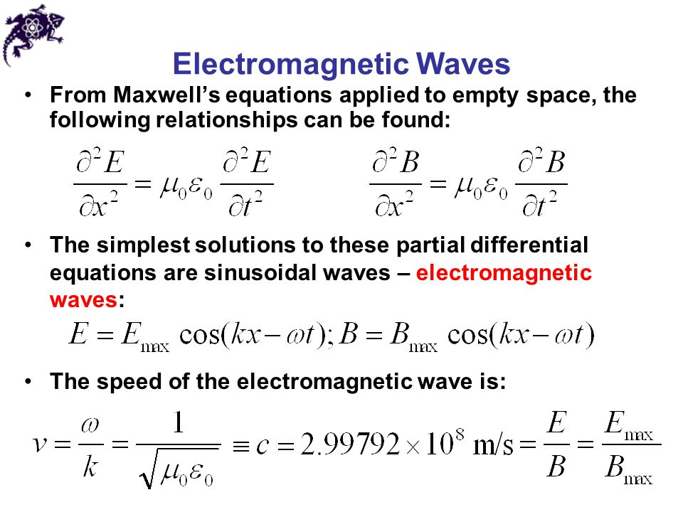 Electromagnetic Waves From Maxwell's equations applied to empty space, the following relationships can be found: The simplest solutions to these parti