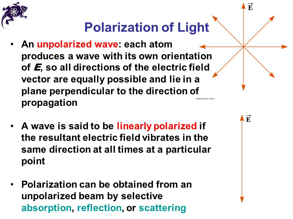 Polarization of Light An unpolarized wave: each atom produces a wave with its own orientation of E, so all directions of the electric field vector are