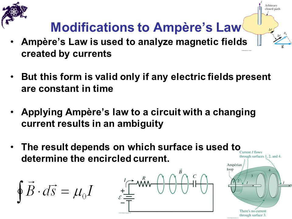 Modifications to Ampère's Law Ampère's Law is used to analyze magnetic fields created by currents But this form is valid only if any electric fields p