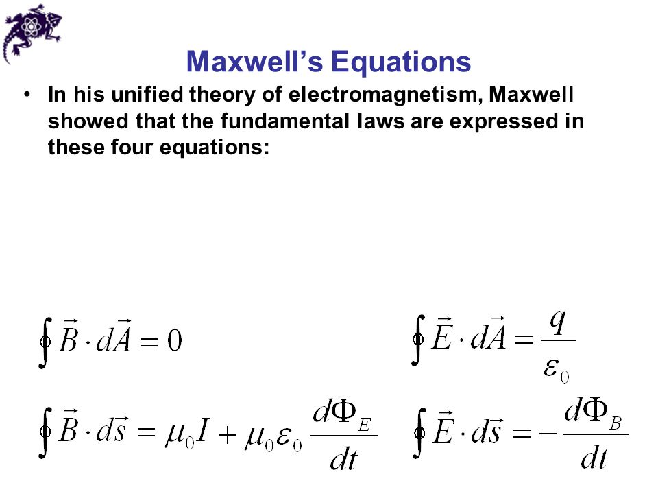 Maxwell's Equations In his unified theory of electromagnetism, Maxwell showed that the fundamental laws are expressed in these four equations: