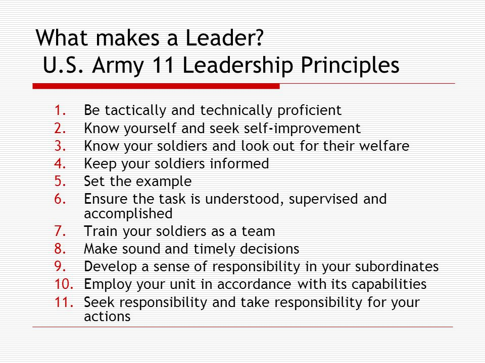 What makes a Leader. U.S.