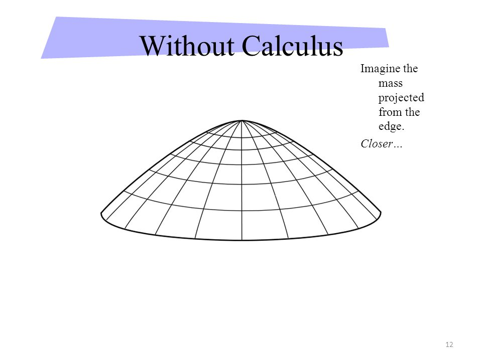 12 Without Calculus Imagine the mass projected from the edge. Closer…