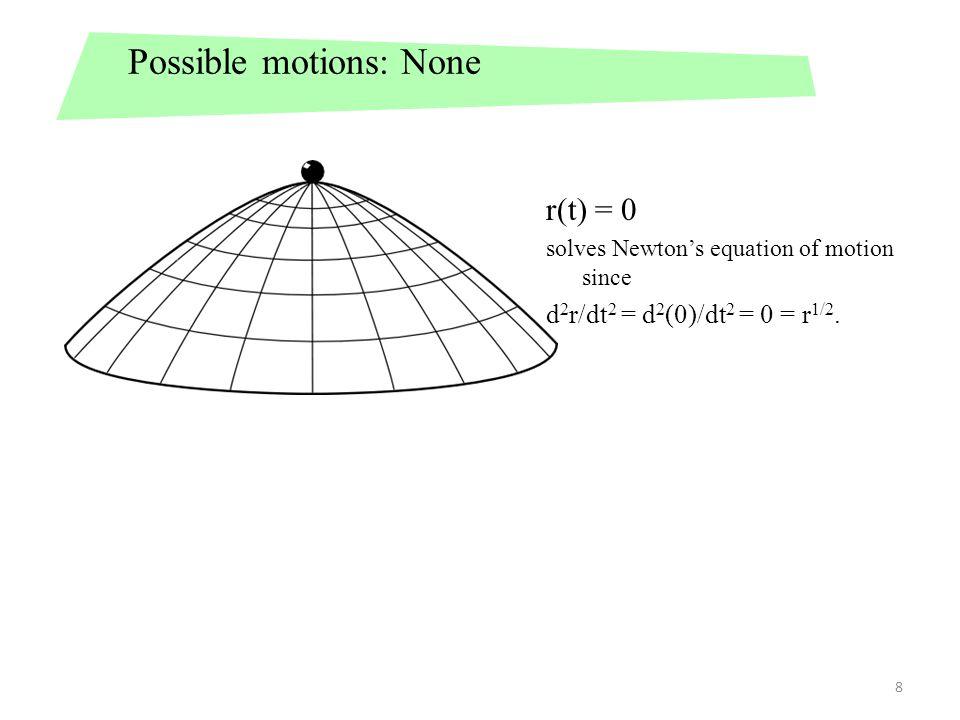 9 Possible motions: Spontaneous Acceleration For t≤T, d 2 r/dt 2 = d 2 (0)/dt 2 = 0 = r 1/2.
