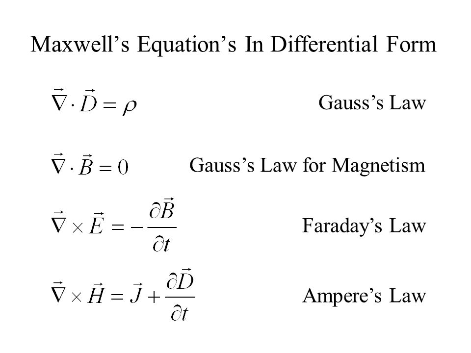 Maxwell's Equation's In Differential Form Gauss's Law Gauss's Law for Magnetism Faraday's Law Ampere's Law