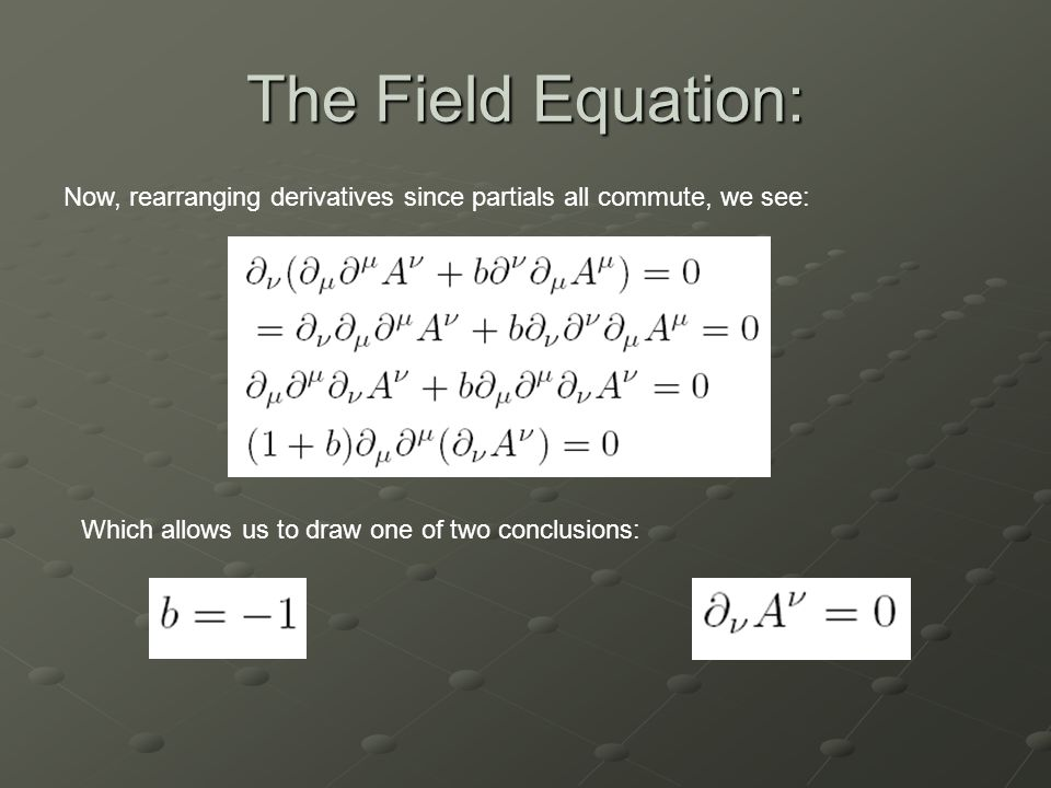 The Field Equation: Now, rearranging derivatives since partials all commute, we see: Which allows us to draw one of two conclusions: