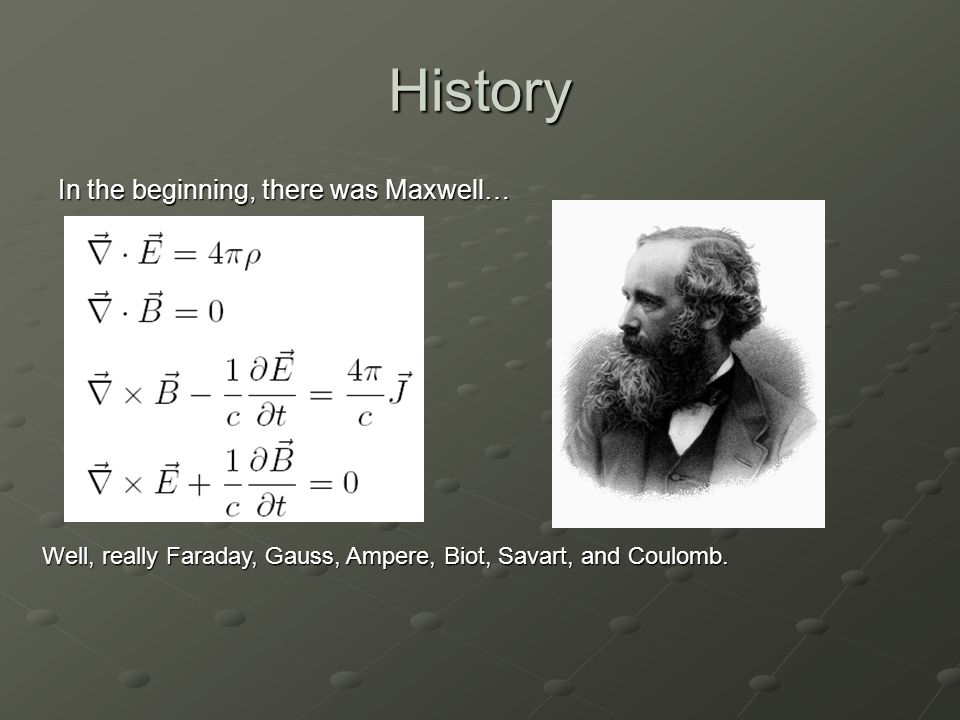 History In 1905, Einstein Unified the separate theories of Electricity and Magnetism into one law, the Electromagnetic Theory.
