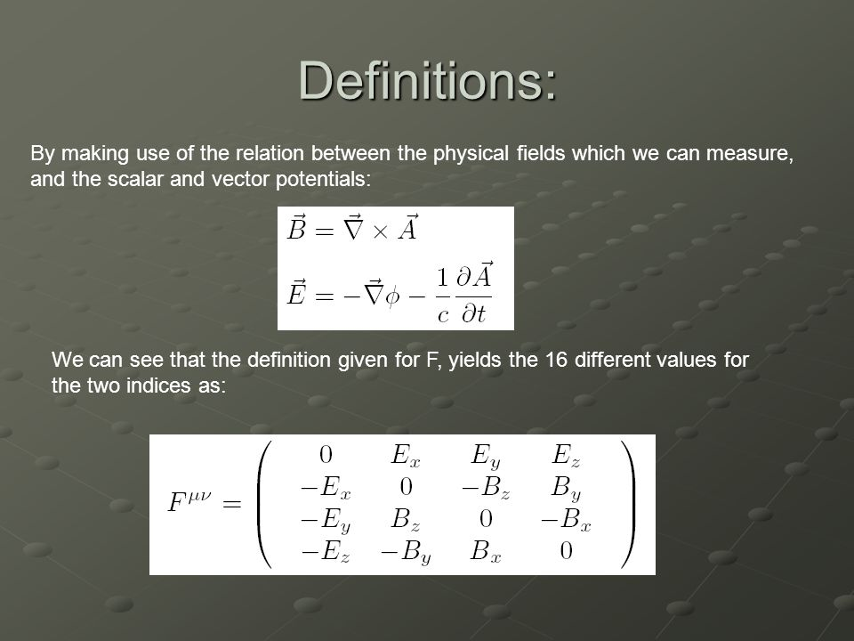 Definitions: By making use of the relation between the physical fields which we can measure, and the scalar and vector potentials: We can see that the definition given for F, yields the 16 different values for the two indices as:
