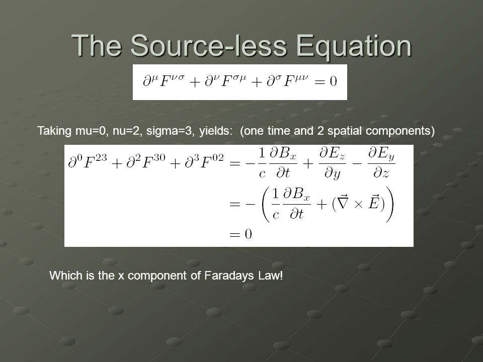 The Source-less Equation Taking mu=0, nu=2, sigma=3, yields: (one time and 2 spatial components) Which is the x component of Faradays Law!
