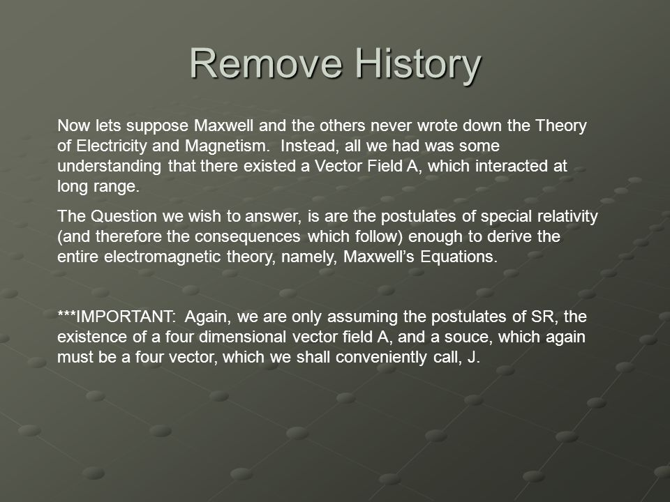 Remove History Now lets suppose Maxwell and the others never wrote down the Theory of Electricity and Magnetism.