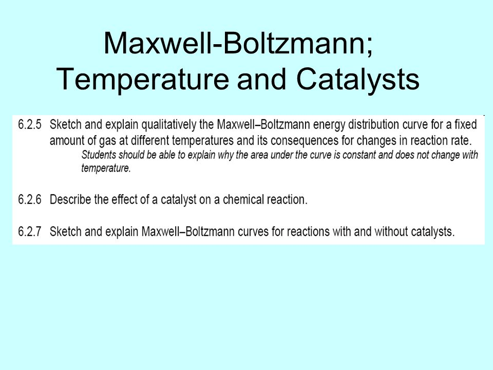 Maxwell-Boltzmann; Temperature and Catalysts