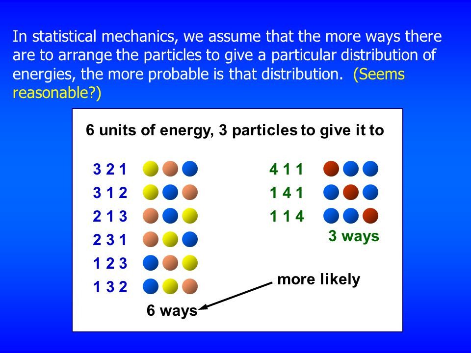 In statistical mechanics, we assume that the more ways there are to arrange the particles to give a particular distribution of energies, the more probable is that distribution.