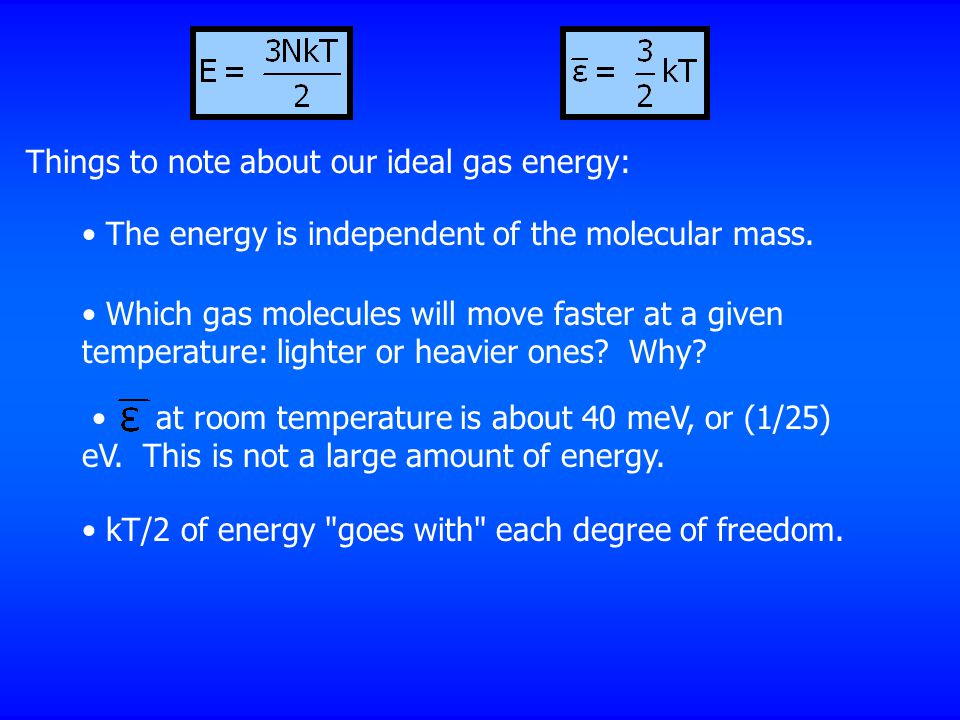 Things to note about our ideal gas energy: The energy is independent of the molecular mass.