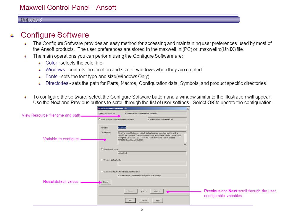6 Maxwell Control Panel - Ansoft Configure Software The Configure Software provides an easy method for accessing and maintaining user preferences used by most of the Ansoft products.