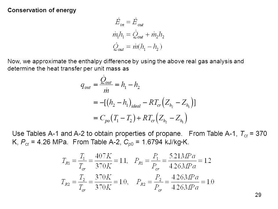29 Conservation of energy Now, we approximate the enthalpy difference by using the above real gas analysis and determine the heat transfer per unit ma