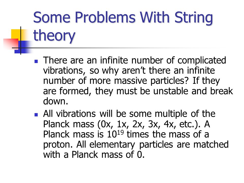 Some Problems With String theory There are an infinite number of complicated vibrations, so why aren't there an infinite number of more massive particles.