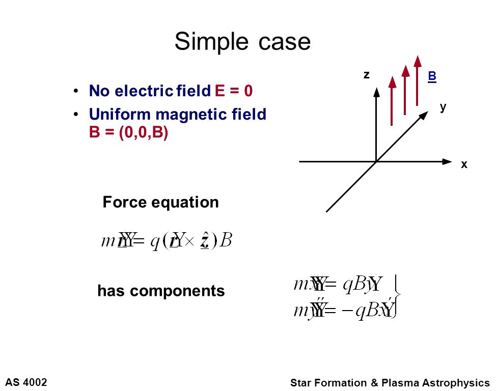 AS 4002 Star Formation & Plasma Astrophysics Simple case No electric field E = 0 Uniform magnetic field B = (0,0,B) Force equation has components z x y B