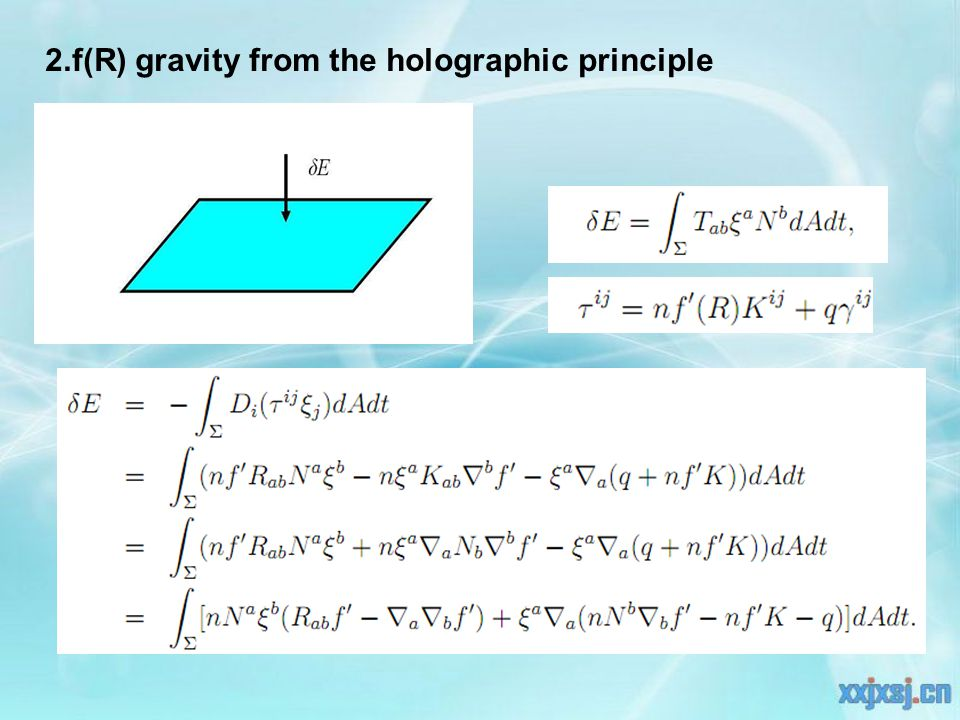 2.f(R) gravity from the holographic principle