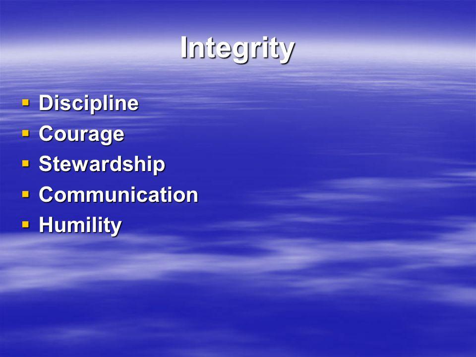 Integrity  Discipline  Courage  Stewardship  Communication  Humility