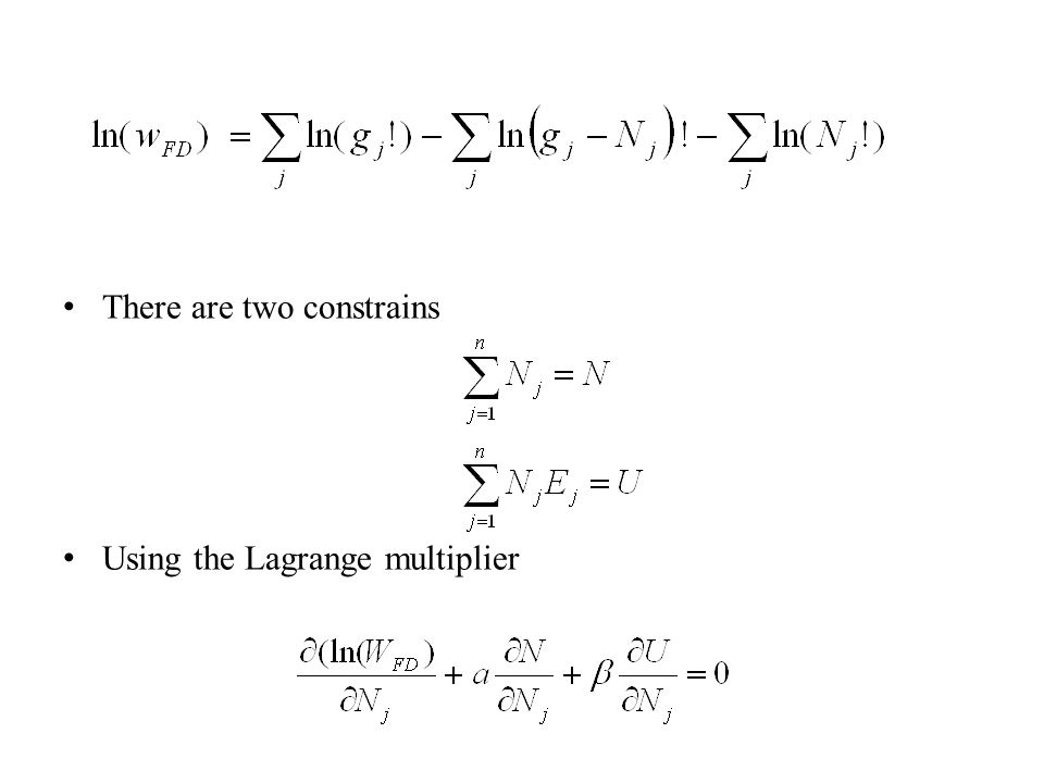 There are two constrains Using the Lagrange multiplier