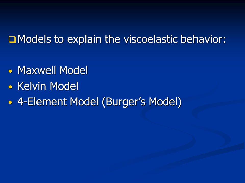  Models to explain the viscoelastic behavior: Maxwell Model Maxwell Model Kelvin Model Kelvin Model 4-Element Model (Burger's Model) 4-Element Model