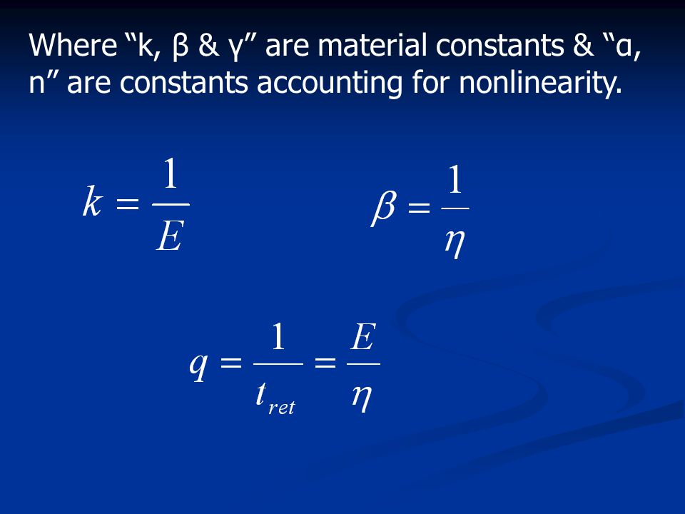 """Where """"k, β & γ"""" are material constants & """"α, n"""" are constants accounting for nonlinearity."""