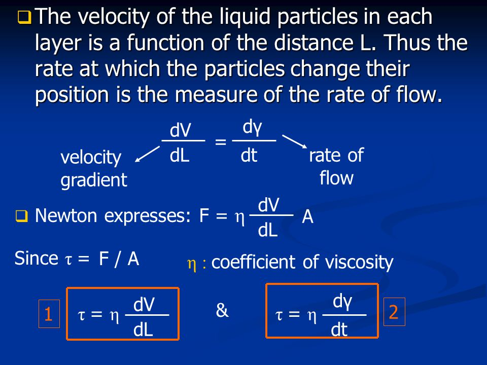  The velocity of the liquid particles in each layer is a function of the distance L. Thus the rate at which the particles change their position is th