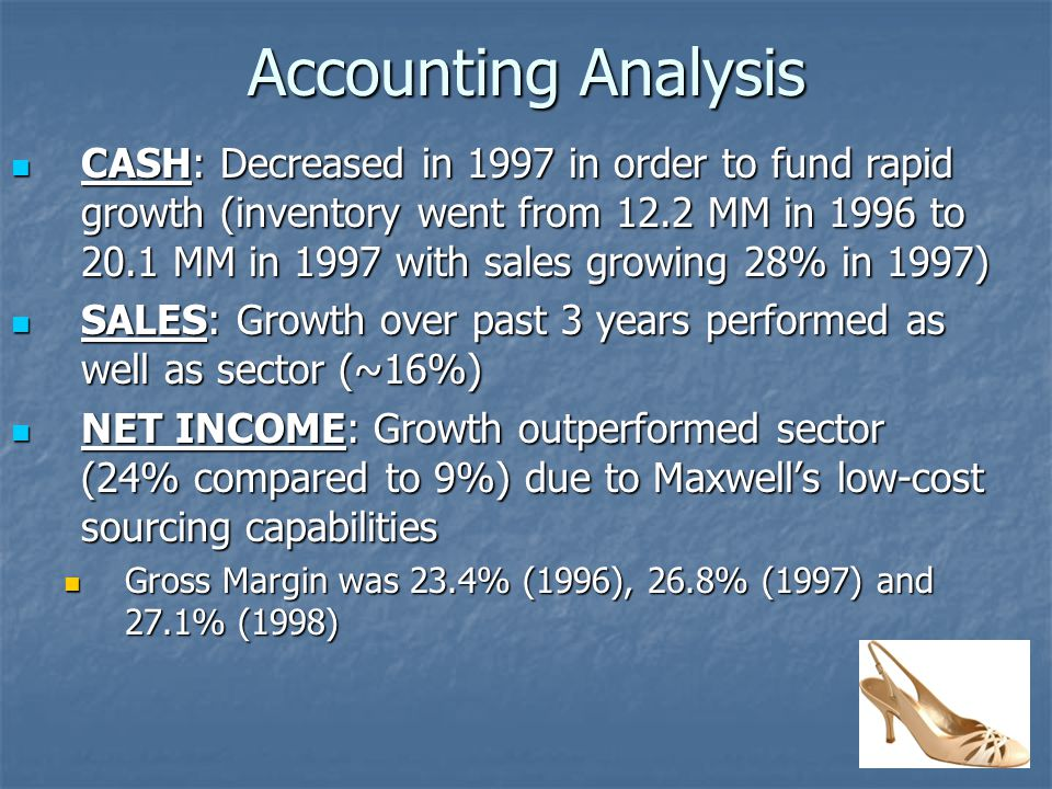 Accounting Analysis CASH: Decreased in 1997 in order to fund rapid growth (inventory went from 12.2 MM in 1996 to 20.1 MM in 1997 with sales growing 28% in 1997) CASH: Decreased in 1997 in order to fund rapid growth (inventory went from 12.2 MM in 1996 to 20.1 MM in 1997 with sales growing 28% in 1997) SALES: Growth over past 3 years performed as well as sector (~16%) SALES: Growth over past 3 years performed as well as sector (~16%) NET INCOME: Growth outperformed sector (24% compared to 9%) due to Maxwell's low-cost sourcing capabilities NET INCOME: Growth outperformed sector (24% compared to 9%) due to Maxwell's low-cost sourcing capabilities Gross Margin was 23.4% (1996), 26.8% (1997) and 27.1% (1998) Gross Margin was 23.4% (1996), 26.8% (1997) and 27.1% (1998)