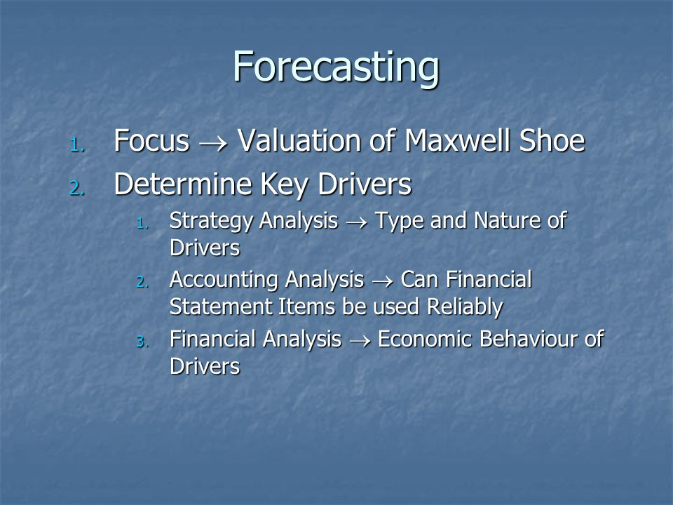Forecasting 1.Focus  Valuation of Maxwell Shoe 2.