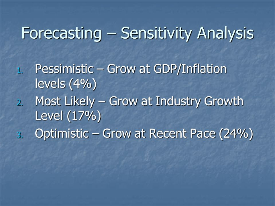 Forecasting – Sensitivity Analysis 1.Pessimistic – Grow at GDP/Inflation levels (4%) 2.