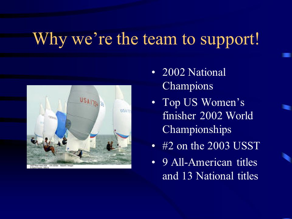 Why we're the team to support! 2002 National Champions Top US Women's finisher 2002 World Championships #2 on the 2003 USST 9 All-American titles and