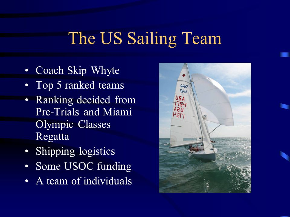 The US Sailing Team Coach Skip Whyte Top 5 ranked teams Ranking decided from Pre-Trials and Miami Olympic Classes Regatta Shipping logistics Some USOC funding A team of individuals