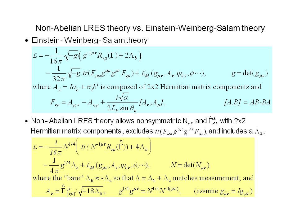 Non-Abelian LRES theory vs. Einstein-Weinberg-Salam theory