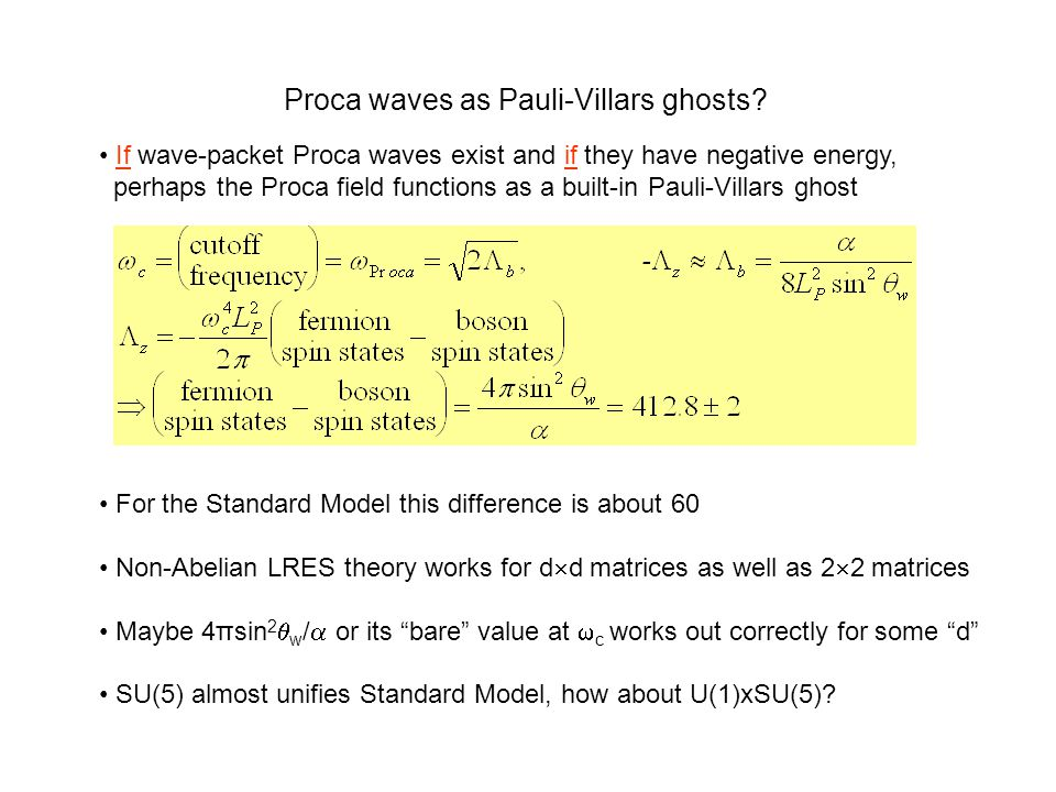 Proca waves as Pauli-Villars ghosts? For the Standard Model this difference is about 60 Non-Abelian LRES theory works for d  d matrices as well as 2