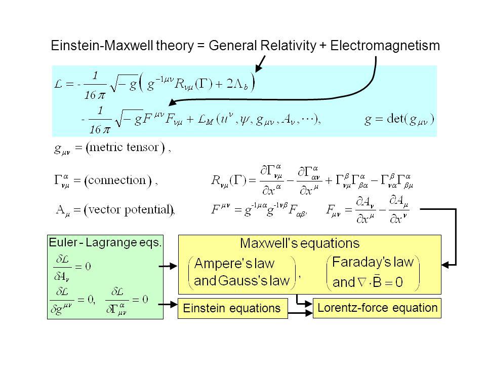 Einstein-Maxwell theory = General Relativity + Electromagnetism Lorentz-force equation Einstein equations