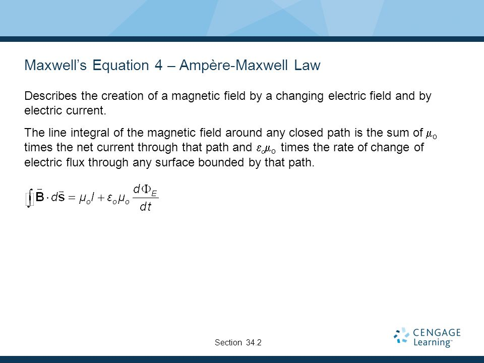 Maxwell's Equation 4 – Ampère-Maxwell Law Describes the creation of a magnetic field by a changing electric field and by electric current. The line in