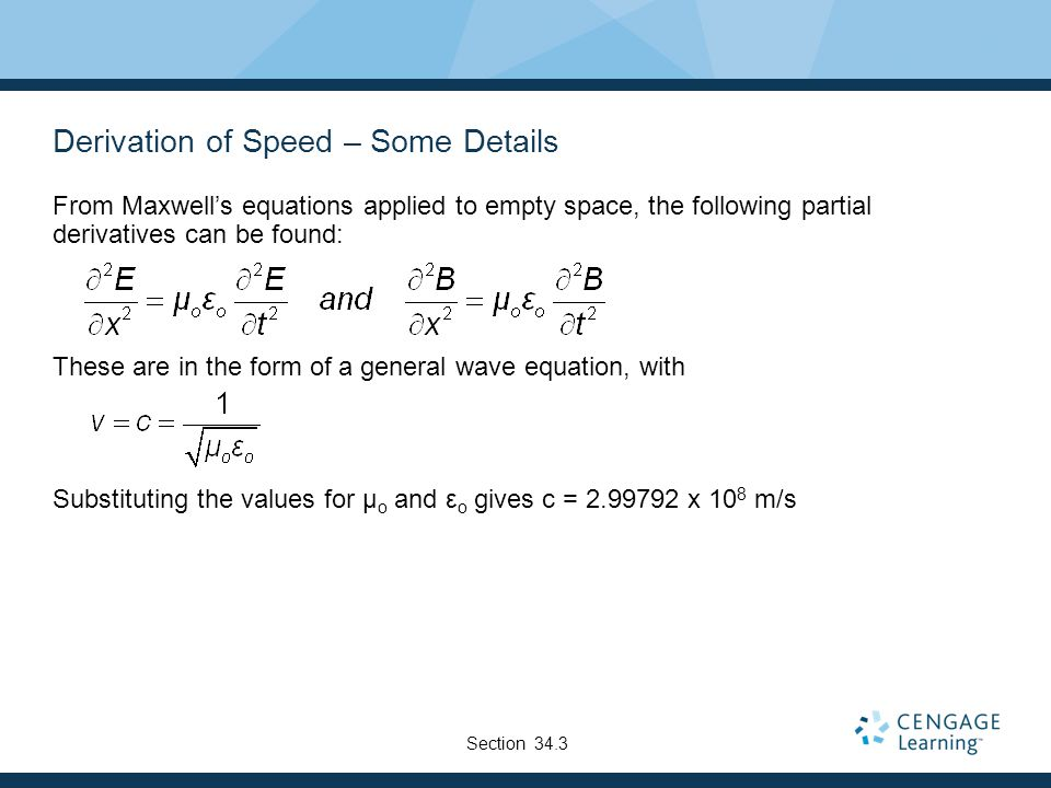 Derivation of Speed – Some Details From Maxwell's equations applied to empty space, the following partial derivatives can be found: These are in the f