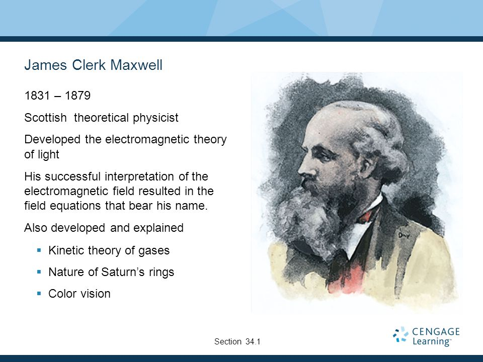 James Clerk Maxwell 1831 – 1879 Scottish theoretical physicist Developed the electromagnetic theory of light His successful interpretation of the elec