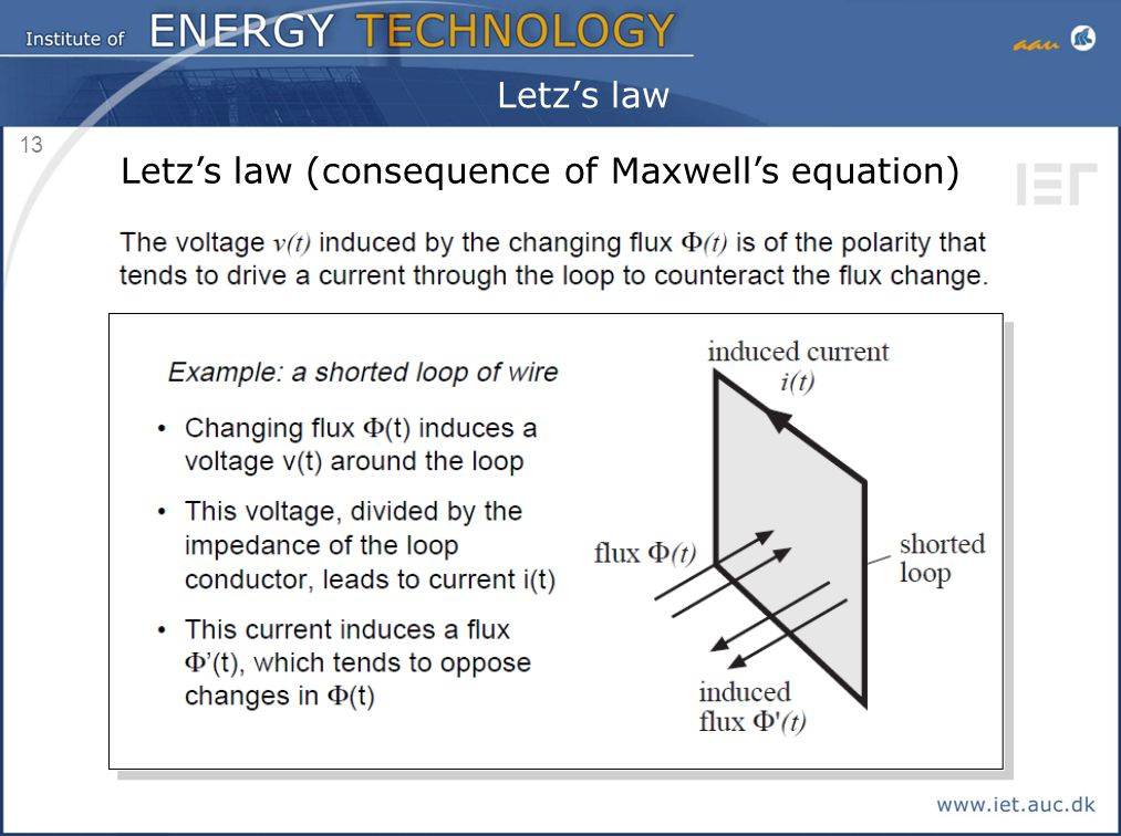 13 Letz's law Letz's law (consequence of Maxwell's equation)