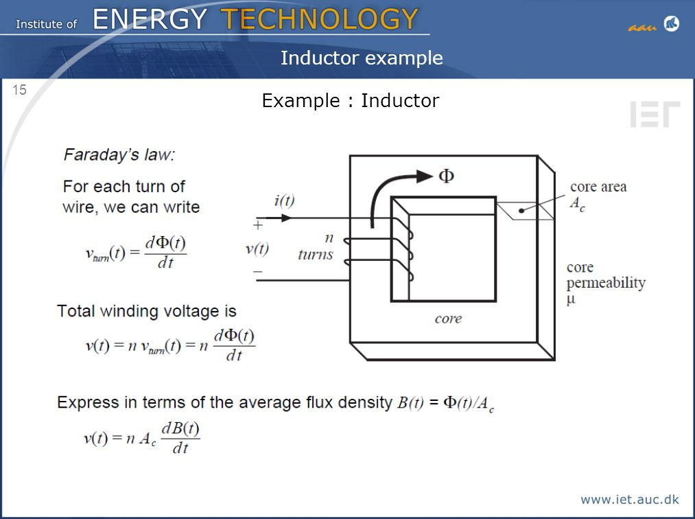 15 Inductor example Example : Inductor