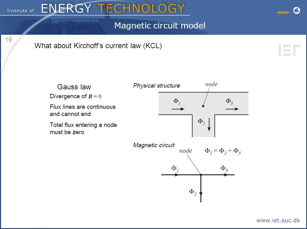 19 Magnetic circuit model What about Kirchoff's current law (KCL) Gauss law