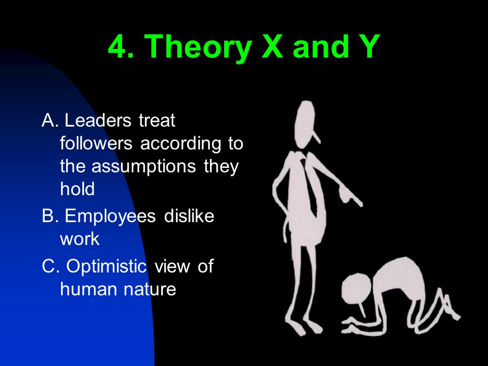 4. Theory X and Y A. Leaders treat followers according to the assumptions they hold B.