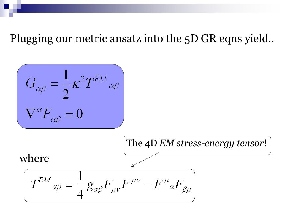 where Plugging our metric ansatz into the 5D GR eqns yield.. The 4D EM stress-energy tensor!
