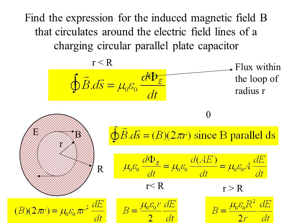 Find the expression for the induced magnetic field B that circulates around the electric field lines of a charging circular parallel plate capacitor 0