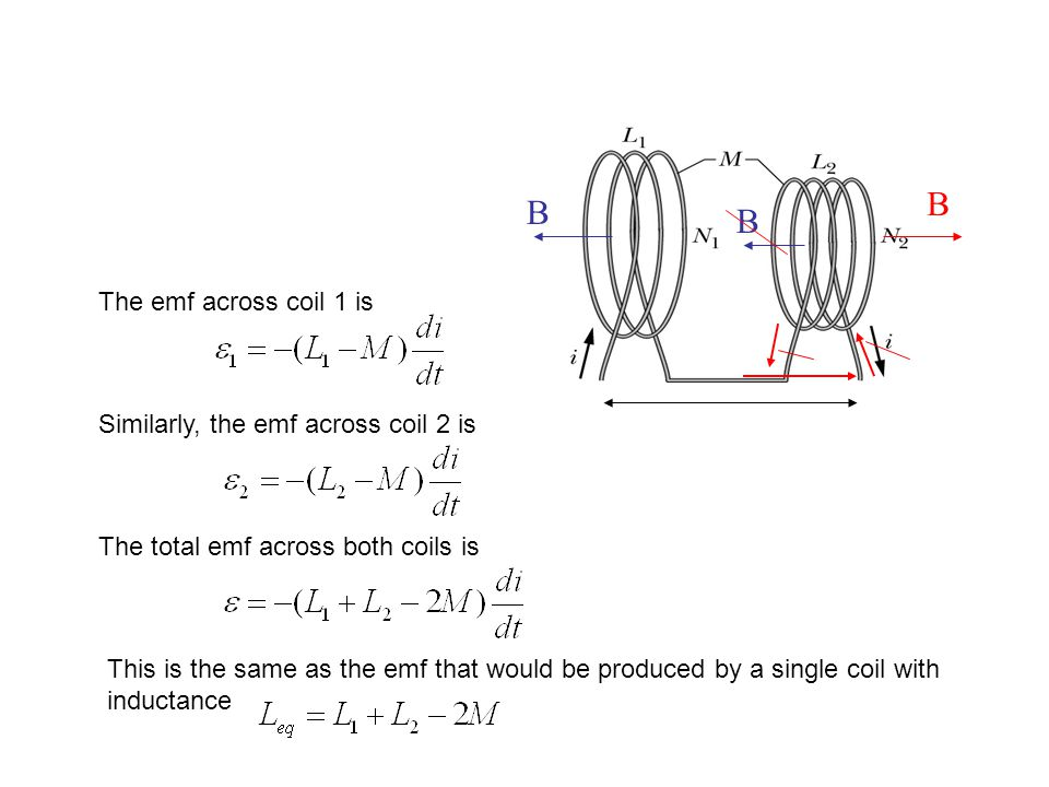 The emf across coil 1 is Similarly, the emf across coil 2 is The total emf across both coils is This is the same as the emf that would be produced by
