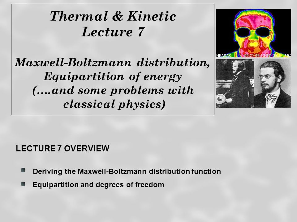 Last time…. Boltzmann factors and probabilities Distribution of velocities in an ideal gas