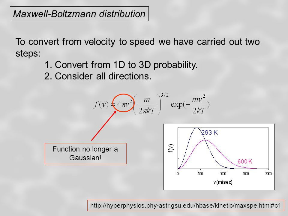 Maxwell-Boltzmann distribution To convert from velocity to speed we have carried out two steps: 1. Convert from 1D to 3D probability. 2. Consider all