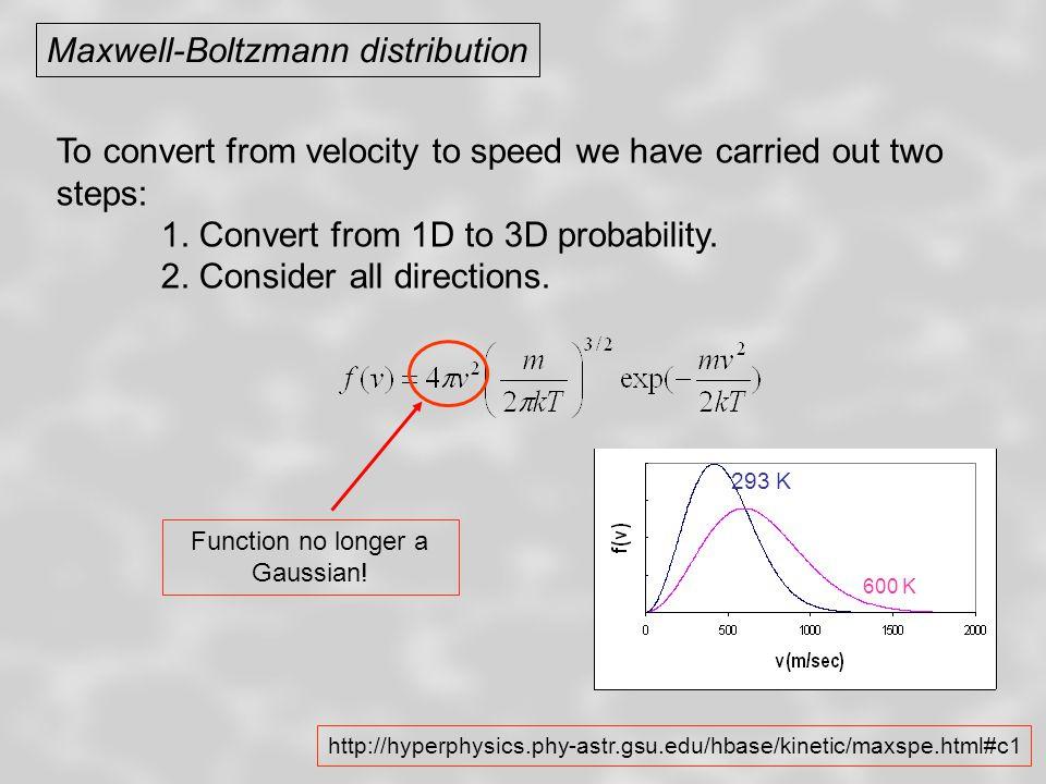 Maxwell-Boltzmann distribution Maxwell-Boltzmann distribution for N 2 molecules 293 K 600 K .