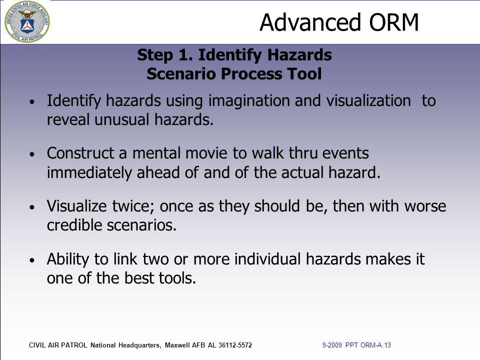 Advanced ORM CIVIL AIR PATROL National Headquarters, Maxwell AFB AL 36112-5572 9-2009 PPT ORM-A.13 Identify hazards using imagination and visualizatio