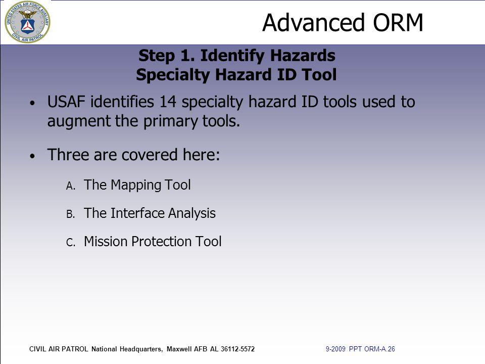 Advanced ORM CIVIL AIR PATROL National Headquarters, Maxwell AFB AL 36112-5572 9-2009 PPT ORM-A.26 USAF identifies 14 specialty hazard ID tools used t