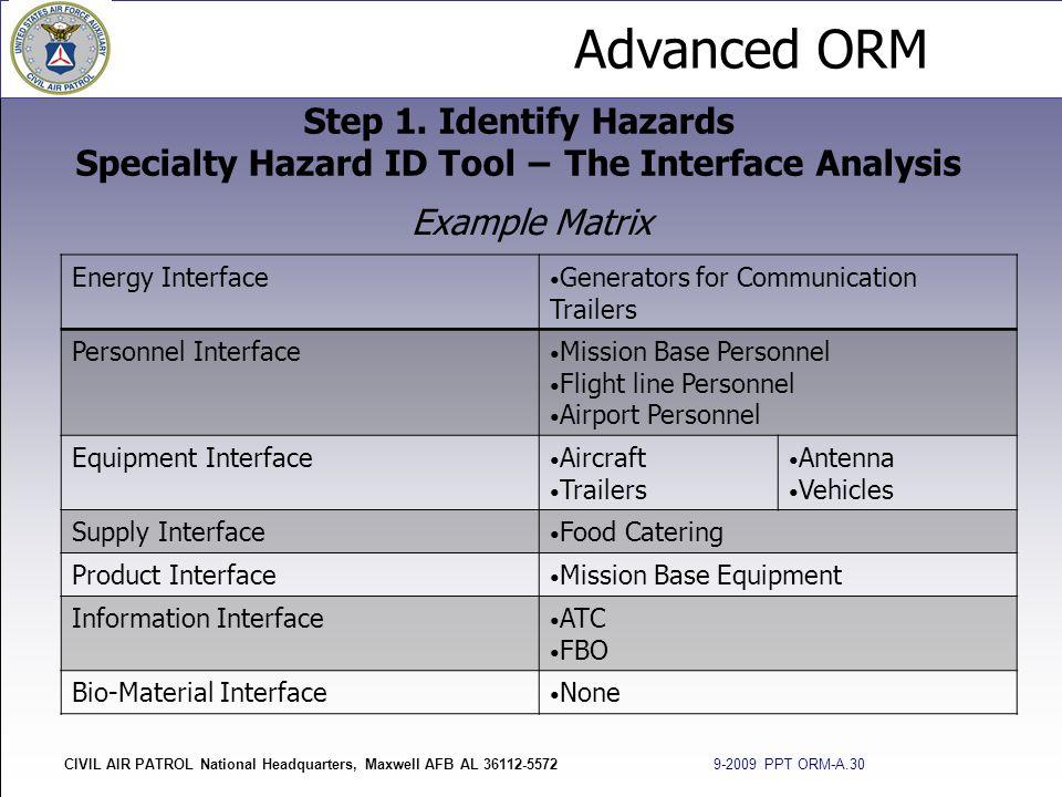 Advanced ORM CIVIL AIR PATROL National Headquarters, Maxwell AFB AL 36112-5572 9-2009 PPT ORM-A.30 Step 1. Identify Hazards Specialty Hazard ID Tool −